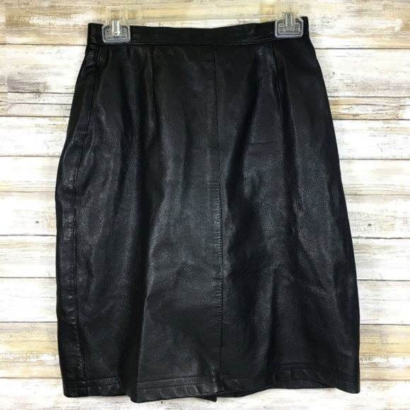 1e8c56425 Vintage Skirts | 1980s Bagatelle Black Leather Pencil Skirt | Poshmark